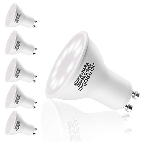 Aigostar - Bombilla LED GU10, 8W, Luz blanca fría 6400K, 600lm, Bajo consumo, no regulable - Paquete de 5 Unidades