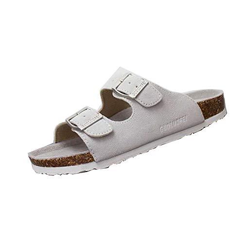 Mujer Sandalias Chanclas Mulas para Zuecos De Corcho Correa Gamuza Ajustable Hebilla Zapatos Planos del Pie Desli(Blanco,36/37 EU,23.5CM De talón a Dedo del pie,38 Talla del Fabricante