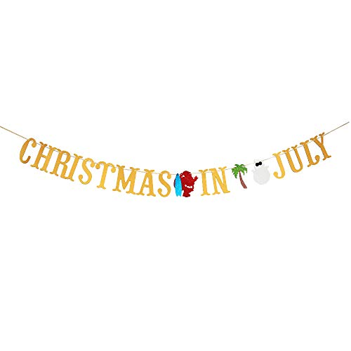 MAGQOO Gold Glitter Christmas In July Banner Garland Photo Props July Chrismtas Party Decor