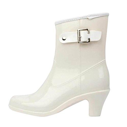 LvRao Damen Wasserdicht Regen Stiefel Hohe Knöchel Boots Gummistiefeln der Frauen Glatt Stiefeletten Weiß Etikett LL, EU 40