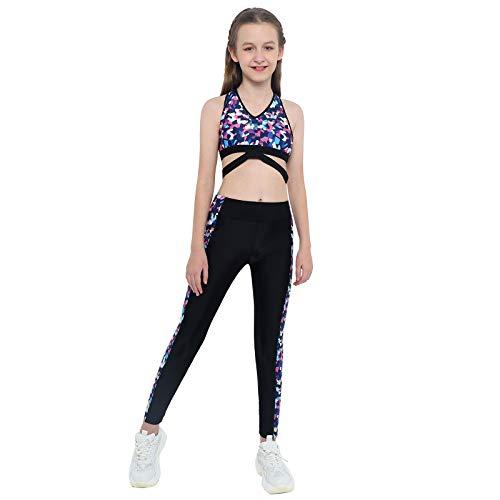 Agoky Ropa Deportiva para Niñas Crop Top Camiseta Corta sin Manga Pantalones Largos Conjuntos Deportivos Verano para Yoga Fitness Running Gym Negro 5-6 años