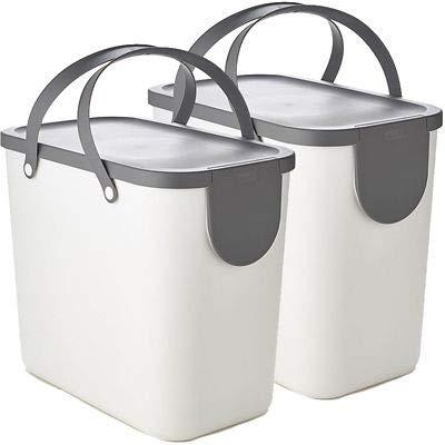 Rotho Albula 2 x 25L Recycling Bin Set - Putty White