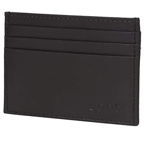 Eono by Amazon - Tarjetero de Cuero con Compartimento para Billetes para Mujer y Hombre con diseño Plano y protección contra Lectura RFID (Piel de napa Vacuno marrón)