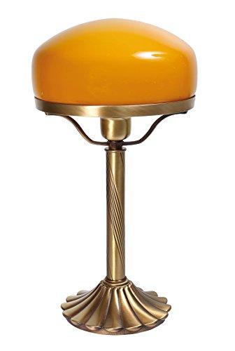 Exklusive Tischleuchte Pilzlampe Messing Fuß bronziert Orange Glas E27 bis 60W Tischlampe im Banker-Stil Pilzleuchte Jugendstil Pils Tischlampe