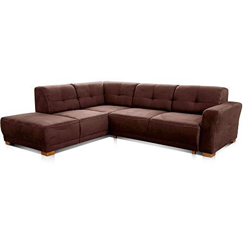 """Cavadore Ecksofa """"Modeo"""" / Sofa-Ecke mit Federkern und modernen Kontrastnähten / Hochwertiger Mikrofaser-Bezug in Wildlederoptik / Holzfüße / Maße: 261x77x214 cm (BxHxT) / Farbe: Braun"""