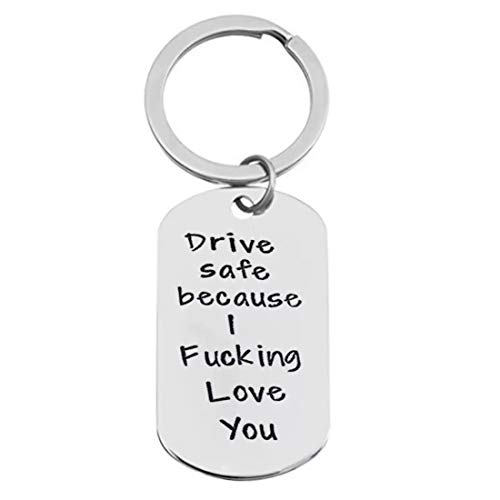 Drive Safe Keychain I Need You Here with Me Love gifts for Boyfriend Husband Dad (Silver E)