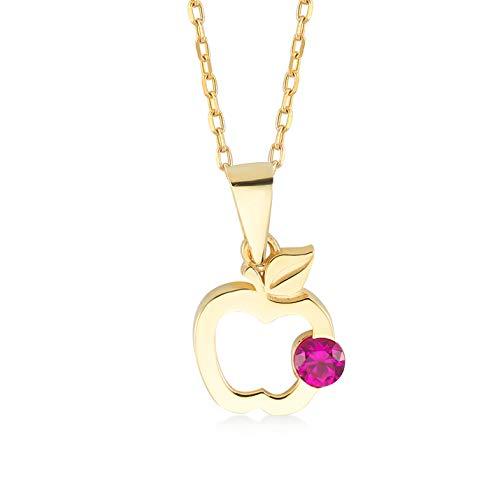 Dames halsketting van 14 karaat - 585 echt geelgoud ketting met appel hanger - cadeau voor verjaardag Kerstmis - ketting 45 cm