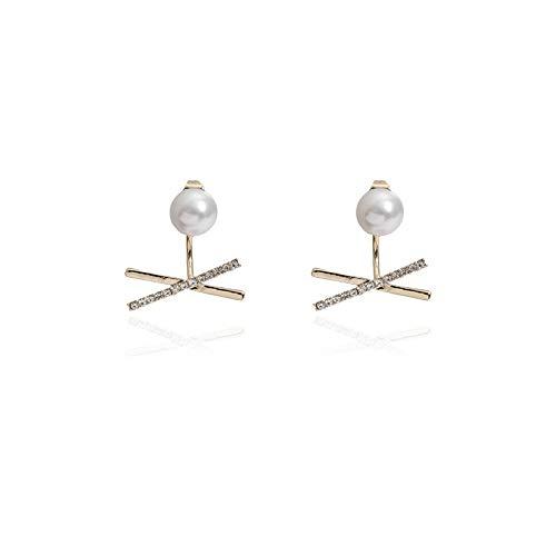 WGGTX Arete Pendientes, pendientes, agujas de plata traseras, perlas cruzadas simples, pendientes exquisitos (un par)