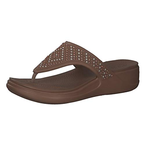 Crocs Damen Monterey Shimmer Wedge Flip, Bronze, 37-38