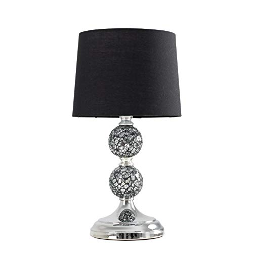 Modern Decorative Chrome & Mosaic Crackle Glass Table Lamp with a Black Shade