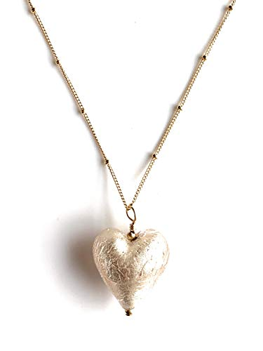 Diana Ingram necklace with champagne (peach, pink) Murano glass medium heart pendant on 22 Carat gold vermeil satellite chain