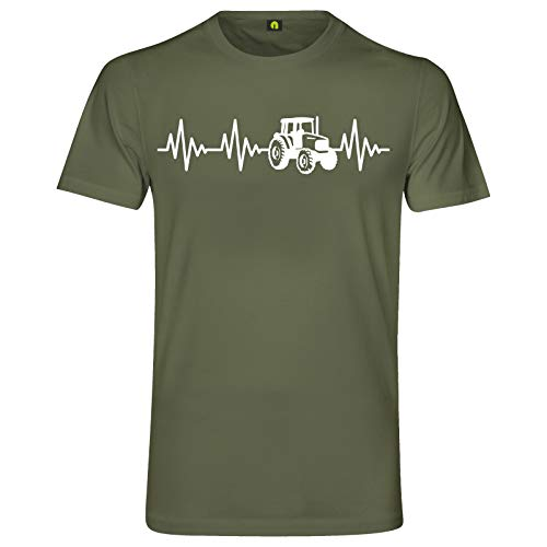 Herzschlag Traktor T-Shirt | Trecker | Landwirt | Schlepper Mähdrescher | Bauer Militär Grün S