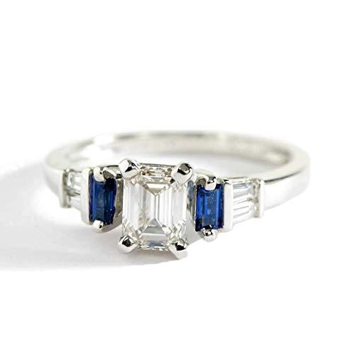 Anillo de compromiso de oro blanco de 18 quilates con diamantes de talla esmeralda de zafiro azul VS2 H de 1,00 quilates