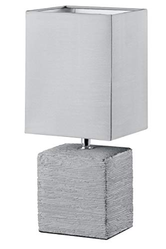 Reality Ping - Lámpara de sobremesa para interior. Incluido interruptor de cable. Necesaria 1 bombilla E14 de máximo 40W excluida. Base de cerámica y pantalla de tela color titán.