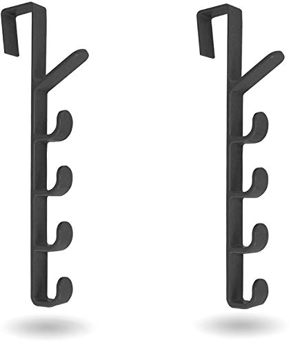 [Mighty Tidy Home] 2-Pack Over The Door Hook Hanger | 5-Hook Heavy-Duty Organizer Rack for Coats, Hats, Robes, Shirts, Belts, Bags, Towels, Closet and Bathroom (2-Pack in Black)