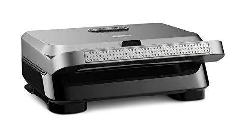 De'Longhi MultiGrill Easy SW12BC.S, Sandwichmaker & Waffeleisen, vertiefte Sandwichplatten, auslaufsichere Waffelplatten mit tiefen Mulden, spülmaschinengeeignet, 800 W, 25 x 27,5 x 10,5 cm