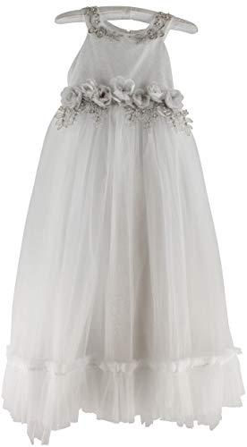 MissBliss. Vestido para niñas de 6 a 10 años con cola de sirena plateada.