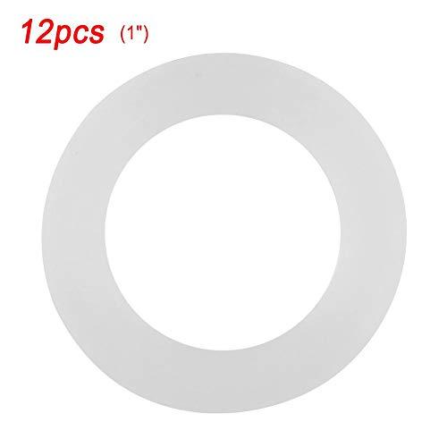 Taidda- O-Ring Dichtscheiben, 12 Stück Flachdichtung Weiß Silikon O-Ring Dichtscheiben für Faltenbalgschläuche(3#)