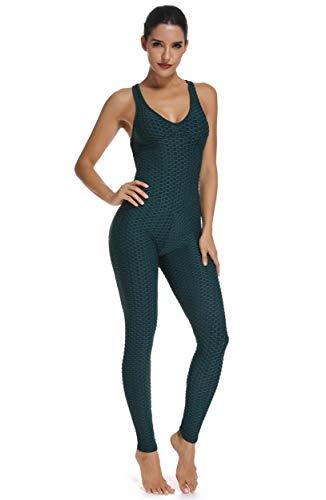 FITTOO Tuta Sportiva da Donna Leggings Slim Abbigliamento Sportivo Pantaloni da Yoga Vita Alta Anti-Cellulite Sexy per Fitness Sport Palestra Yoga Jumpsuit Verde XS