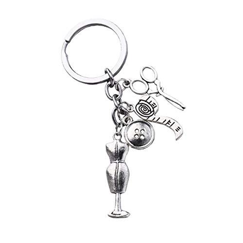 Amosfun Llavero de metal con botón y regla, para llavero, bolso o disfraz, regalo, adornos, colgante para llave de coche (Style1) Estilo 2 Medium