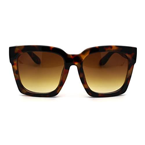 Womens Boyfriend Style Oversize Horned Rim Thick Plastic Sunglasses (All Tortoise, 54)