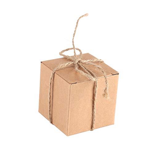 50 pezzi Mini scatola bomboniera quadrata Kit fai-da-te, 5x5x5cm Scatole per caramelle Scatole da forno Scatole di cartone per imballaggio-regalo, Mini valigia di carta kraft vintage con spago