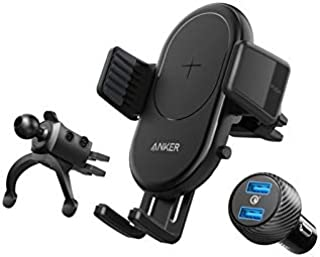 Anker PowerWave 7.5W Wireless Charger,Car Mount and Dual Port 3.0A Quick Charger, with 3-Feet Micro USB Cable, B2551H13, B...