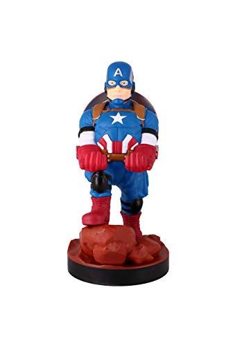 Exquisite Gaming - Cable guy Capitán América, soporte de sujeción y carga para mando de consola y/o smartphone de tu personaje favorito con licencia oficial de Marvel