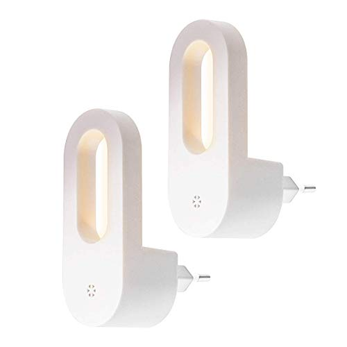 SUNSEATON LED-Nachtlampje, Bedlampje Nachtlampje Voor Kinderen, Automatische Uitlaatlampen, Voor Gangen, Trappen, Slaapkamer, Kast, Keuken, Warm Wit (2 Stuks)