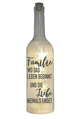 WB wohn trends LED-Flasche mit Motiv, Familie wo das Leben beginnt - Liebe Niemals endet, grau, 29cm, Flaschen-Licht Lampe mit Text Spruch