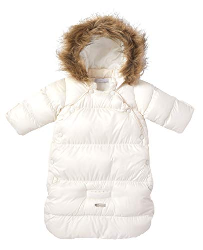 Cremson Girls Boys Newborn Infant Baby Puffer Carbag Pram Bag Snowsuit Bunting (0/6 Months, Cream Snap)