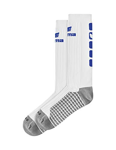 Erima Erwachsene Classic 5-C Socken lang, weiß/New royal, 31-34