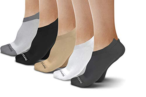 Physix Gear Sport Calcetines Invisibles Antideslizantes y Transpirables, los Mejores pinkies con sujeción de Silicona en el talón, Calcetines Hombres y Mujeres, 3 Pares, Talla única, Blanco y Gris