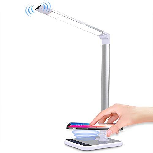 Lámpara de escritorio LED con puerto de carga USB, 18 W con carga inalámbrica, control táctil CFGROW 4 modos 6 niveles regulable lámpara de escritorio para estudio, lectura y noche durmiendo luces