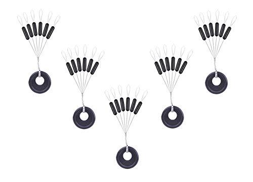 Milepetus 300/600 Stück Gummi Angeln Bobber Stopper,6 in 1 Float Sinker Stopps,3 Größen Schwarz Rot Orange Oval Zylinder Float Stop Verfügba (Black-Cylinder, S-300Pcs)