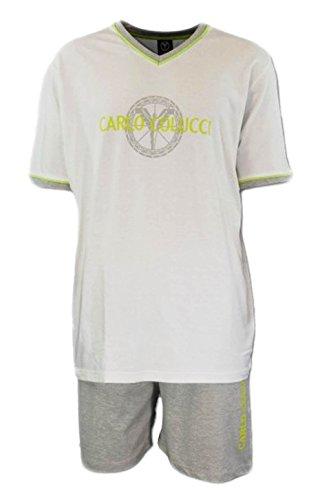 Carlo Colucci Herren Pyjama Shorty Set Schlafanzug Pyjama kurz Nachtwäsche, Größe:L, Farbe:Weiß