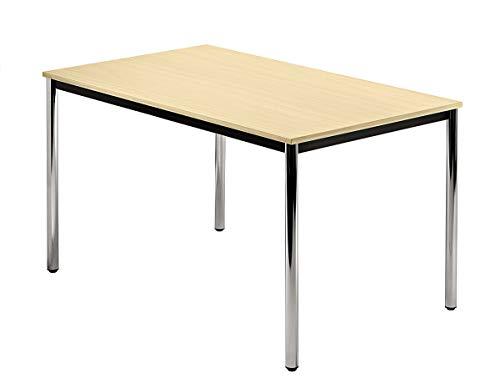 Unbekannt Konferenztisch mit Rund-Rohr Chrom Doran 120 x 80cm Ahorn