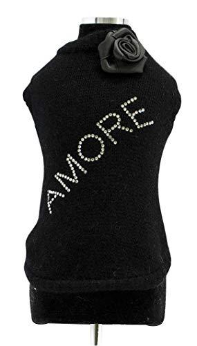 Trilly tutti Brilli wandy Todos Brille Jersey de Lana con aplicación Térmica Swarovski y Broche de Raso, Color Negro, S–1Producto