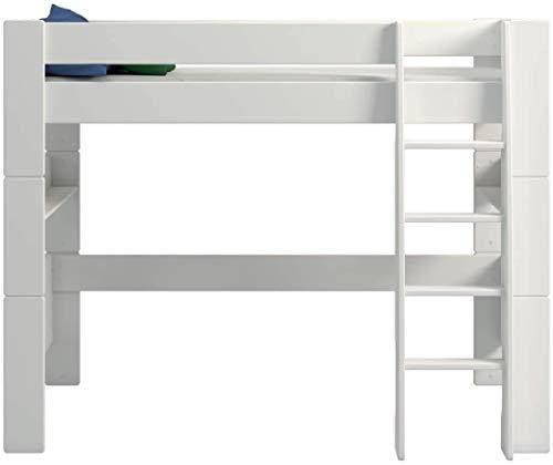 SAM Hochbett Santiago, Kinderbett 90 x 200 cm, Etagenbett MDF weiß, mit Schrägleiter, Rolllastenrost und hoher...