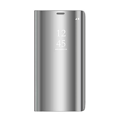 Sunrive Kompatibel mit Realme 5/Realme 5s Hülle,Schutzhülle Spiegel Transparent Hülle Handyhülle Schalen Handy Tasche Etui Cover Flip Handytasche(027 Silber) MEHRWEG+Gratis Universal Eingabestift