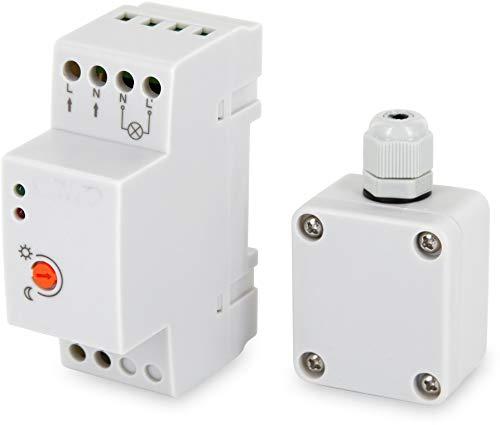 Mini sensor crepuscular exterior de superficie, 230 V, IP65, 3000 W, para carril DIN, adecuado para LED a partir de 1 W