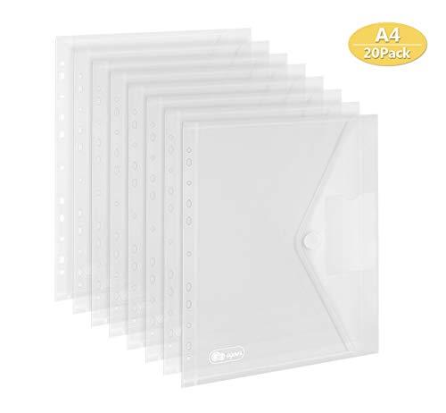 20er-pack Dokumententasche A4 - A4 Sichttasche Dokumenten Mappen Brieftaschen Tasche für Dokument Organisieren mit Lochrand Klettverschluss und Etikettentasche
