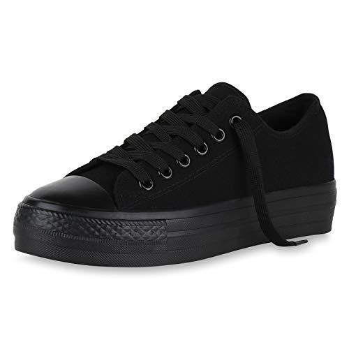 SCARPE VITA Damen Plateau Sneaker Canvas Schuhe Schnürer Freizeit Stoffschuhe Turnschuhe Profilsohle Plateauschuhe 174301 Schwarz Black 38