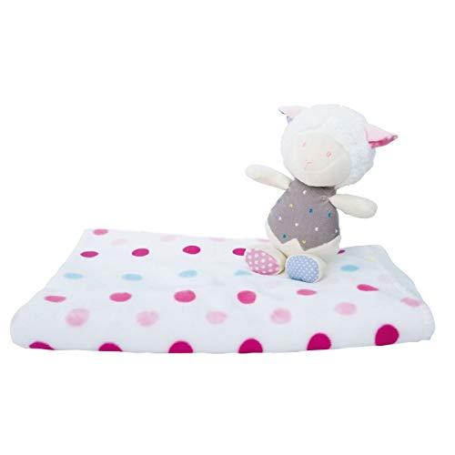 Bieco 04004113 Baby Kuschel Set mit Schmusedecke und Plüschschaf, Schmuseset mit weißer Kuscheldecke mit rosa Punkten und Kuscheltier Schaf für Babys ab 3m+, rosa