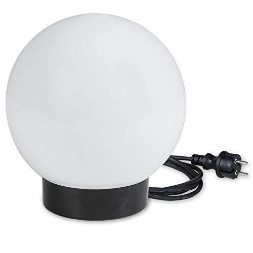 LHG Kugelleuchte 15 cm Ø, weiße Gartenlampe, Außenleuchte, schöne Deko für Innen & Außen, Gartenbeleuchtung, Gartenkugel für Energiesparlampen E27 & LED - 230 V & 11W, Kugellampe mit IP44, 2 m Kabel