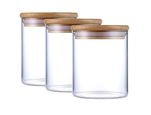 Justyou 500ML Bocal en verre, Verre à Haute Teneur en Borosilicate Cylindre Récipient de Stockage de Nourriture Hermétique Canister Jar, Paquet de 3
