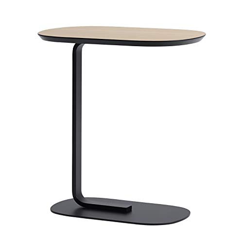 QINGZHUO C-shaped End Tables,Simplicity Bedside Office Reading Table,Wrought Iron Bracket Pine Tabletop Side Table,multifunctional Living Room Sofa Side Table.