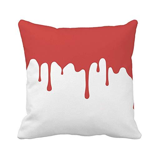 N\A Throw Pillow Cover Pink Red Paint Dripping Blood Flows Abstract Blob Funda de Almohada Naranja Funda de Almohada Cuadrada Decorativa para el hogar Funda de cojín