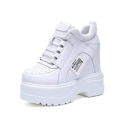 Damen Plattform Freizeitschuhe Atmungsaktive Wedge Creepers Turnschuhe Runde Zehen Schnürung Erhöhte Interne 12cm High Top Sneakers