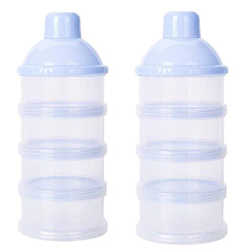 VOARGE 2 dispensadores de leche en polvo, fórmula en polvo para 4 capas, recipiente portátil para leche en polvo para bebés, recipiente para leche en polvo con armonizador (azul)